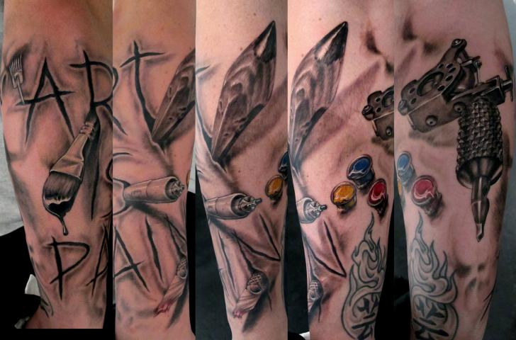 Realistic Tattoo Machine 3d Tattoo by Stefano Alcantara