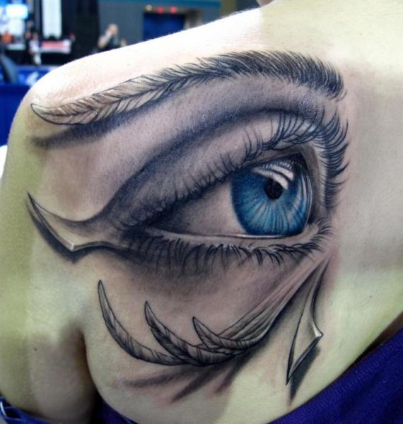 Shoulder Eye 3d Tattoo by Stefano Alcantara