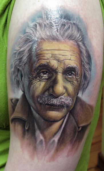 Arm Realistic Einstein Tattoo by Stefano Alcantara