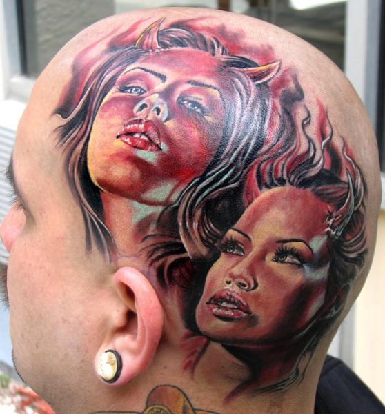 Fantasy Women Head Devil Tattoo by Stefano Alcantara