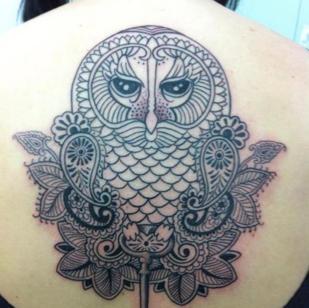 Back Owl Tattoo By Amor De Madre
