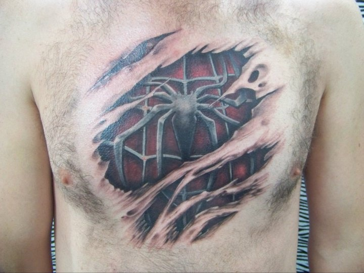 Chest Scar Spiderman Tattoo By Amor De Madre