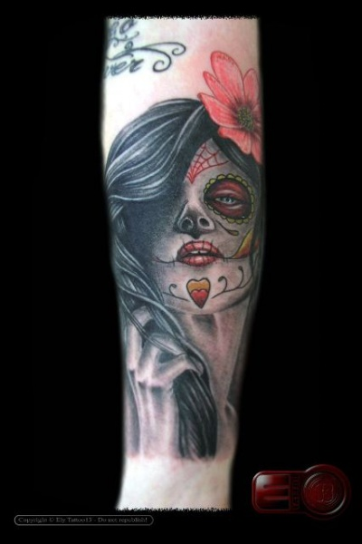 Mexican Skull Tattoo By Amor De Madre