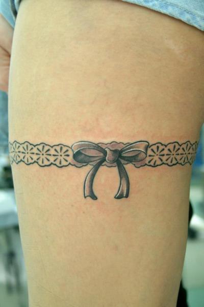 Thigh Garter Tattoo by Amor De Madre
