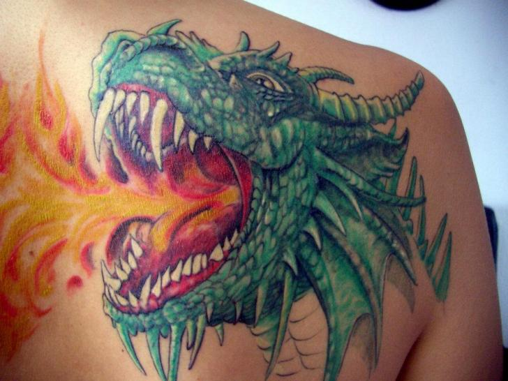 Shoulder Fantasy Dragon Tattoo by Tattoo Hautnah