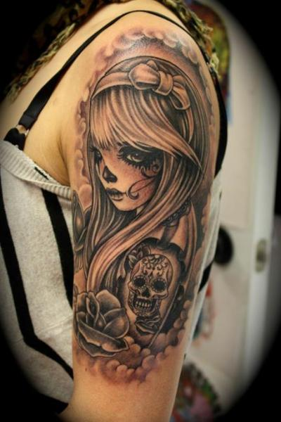 Shoulder Mexican Skull Tattoo by Mito Tattoo