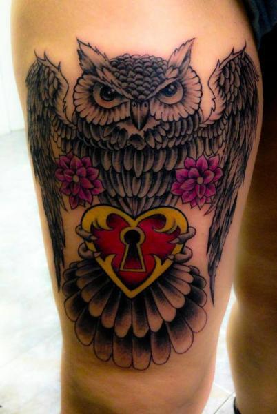Old School Heart Owl Tattoo by Nirvana Tattoo