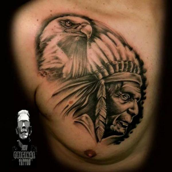 Realistic Chest Eagle Indian Tattoo by Original Tattoo