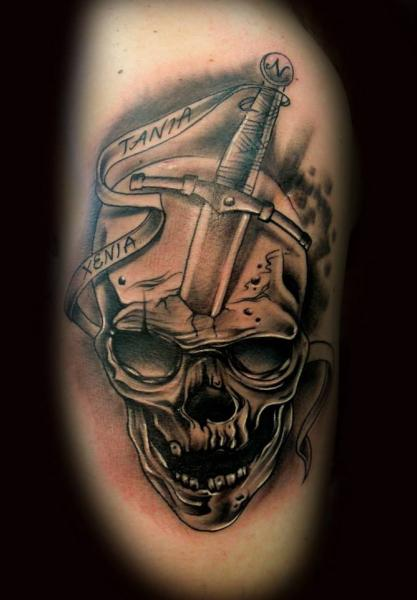 Shoulder Skull Dagger Tattoo by Original Tattoo