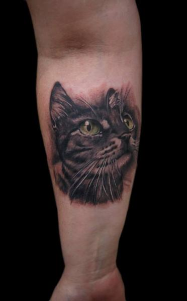 Arm Realistic Cat Tattoo by Tattoo Chaman