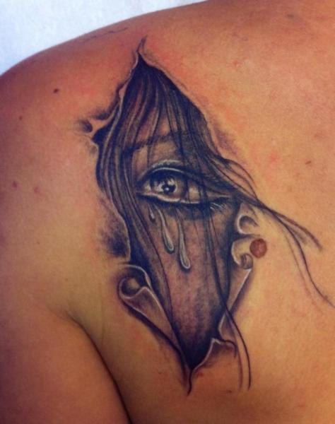 Shoulder Fantasy Eye Scar Tattoo by Tattoo Chaman
