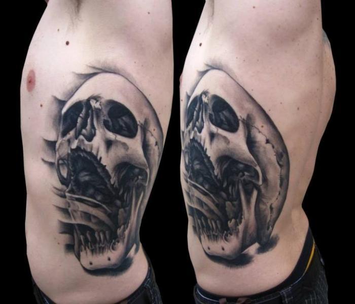 Side Skull Tattoo by Tattoo Chaman