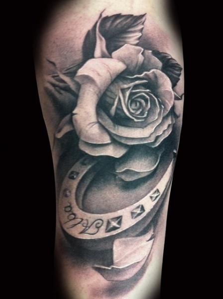 Arm Flower Horse Tattoo by Demon Tattoo