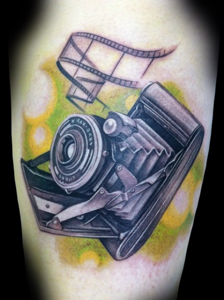 Arm Realistic Camera Tattoo by Demon Tattoo