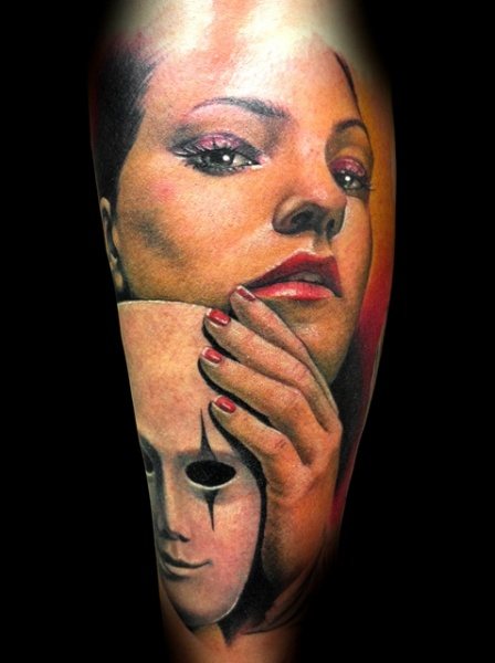 Arm Realistic Women Mask Tattoo by Demon Tattoo