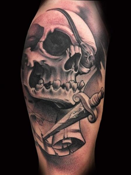 Arm Skull Dagger Tattoo by Demon Tattoo