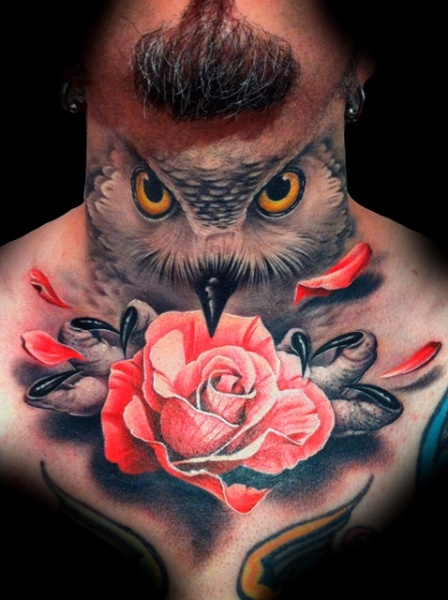 Realistic Chest Flower Neck Owl Tattoo by Demon Tattoo