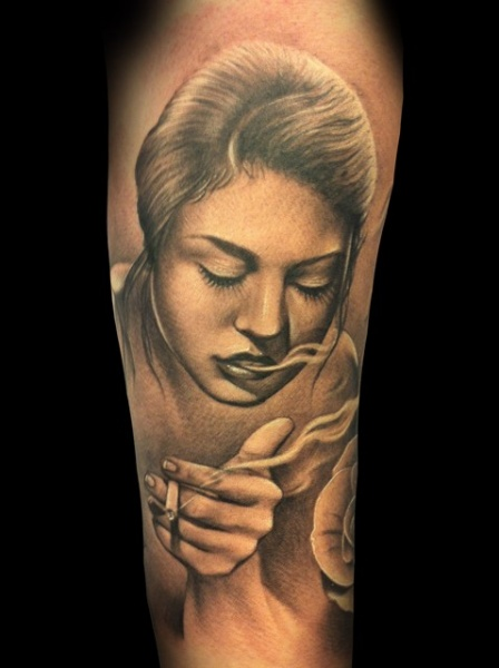 Portrait Realistic Women Tattoo by Demon Tattoo