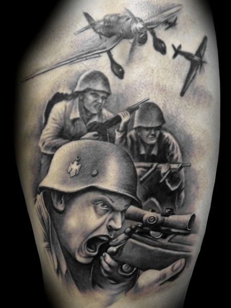 Realistic Soldier Tattoo By Demon Tattoo