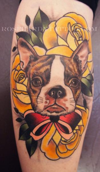 Arm Flower Dog Tattoo by Rose Hardy Tattoo