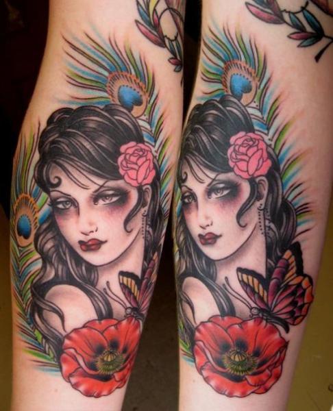 Arm Feather Gypsy Tattoo by Rose Hardy Tattoo