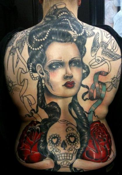 Skull Women Back Tattoo by Rose Hardy Tattoo
