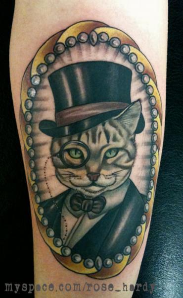 Arm Cat Medallion Tattoo by Rose Hardy Tattoo