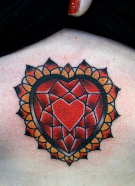 Heart Diamond Tattoo by Rose Hardy Tattoo