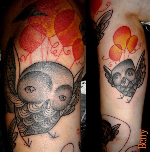 Arm Owl Dotwork Tattoo by Belly Button Tattoo