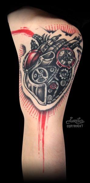 Arm Getriebe Herz Tattoo von Belly Button Tattoo