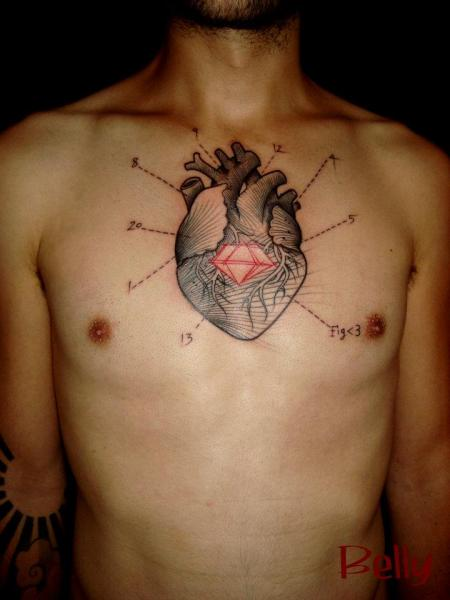Chest Heart Dotwork Tattoo by Belly Button Tattoo