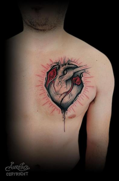 Tatuaje Pecho Corazon Por Belly Button Tattoo