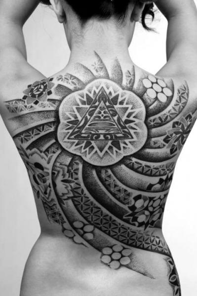 Back Dotwork Tattoo by Sakrosankt