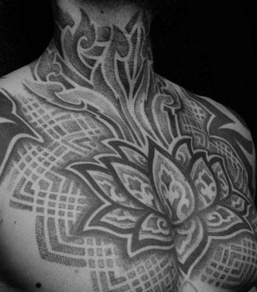 Chest Neck Dotwork Tattoo by Sakrosankt