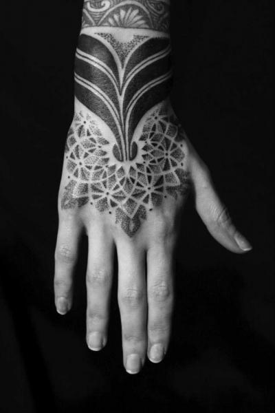 Hand Tribal Dotwork Tattoo by Sakrosankt