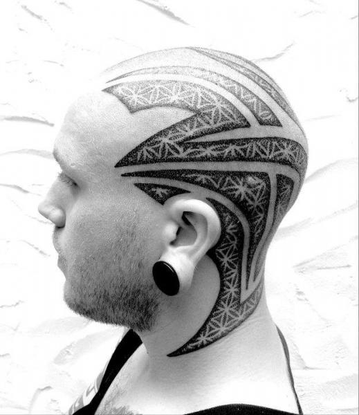 Tribal Head Dotwork Tattoo by Sakrosankt