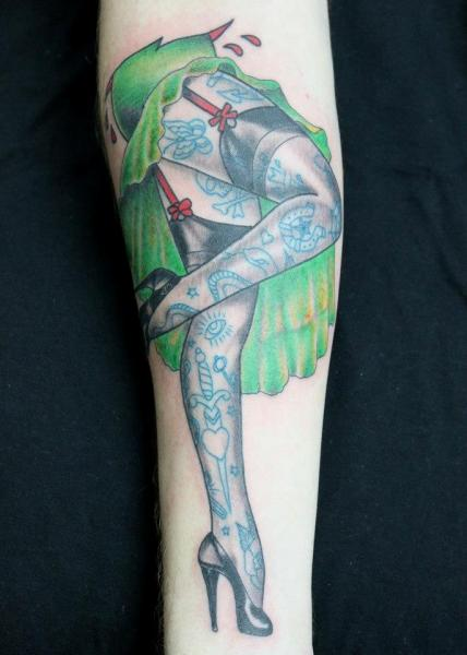 Arm Leg Pin-up Tattoo by Forever True Tattoo