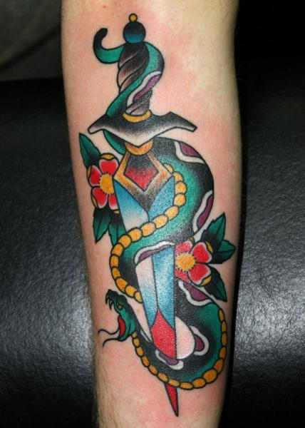 Arm New School Snake Dagger Tattoo by Forever True Tattoo