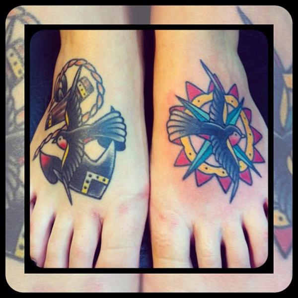 Old School Foot Sparrow Tattoo by Forever True Tattoo