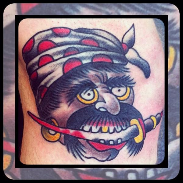 Old School Pirate Tattoo by Forever True Tattoo