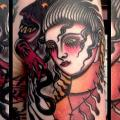 Old School Frauen Teufel tattoo von Forever True Tattoo