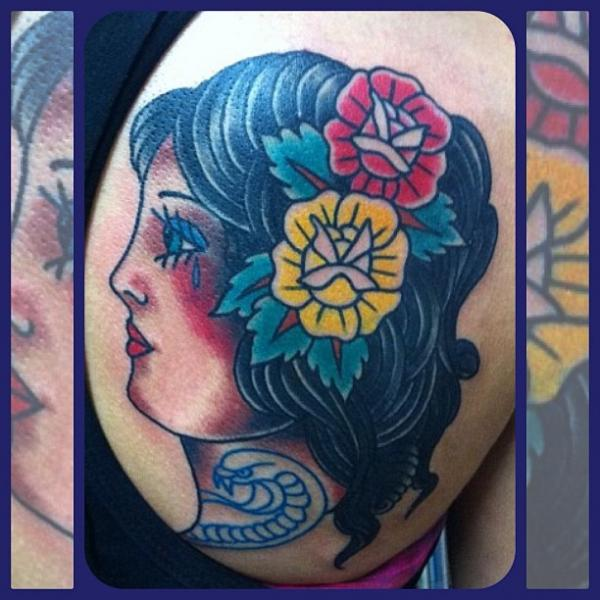Shoulder Old School Gypsy Tattoo by Forever True Tattoo