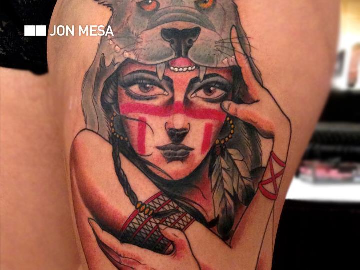 Women Wolf Thigh Tattoo by Bang Bang NYC