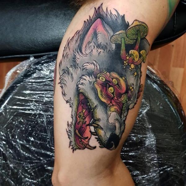 Arm Wolf Mushroom Tattoo by Bad Apples Tattoo