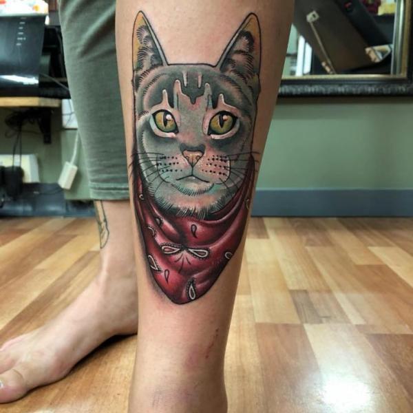Leg Cat Tattoo by Bad Apples Tattoo