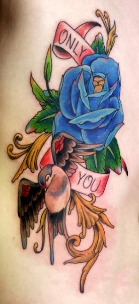 New School Swallow Flower Tattoo by Bad Apples Tattoo