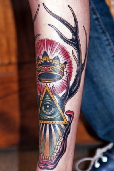 Arm God Crown Deer Tattoo by Chalice Tattoo