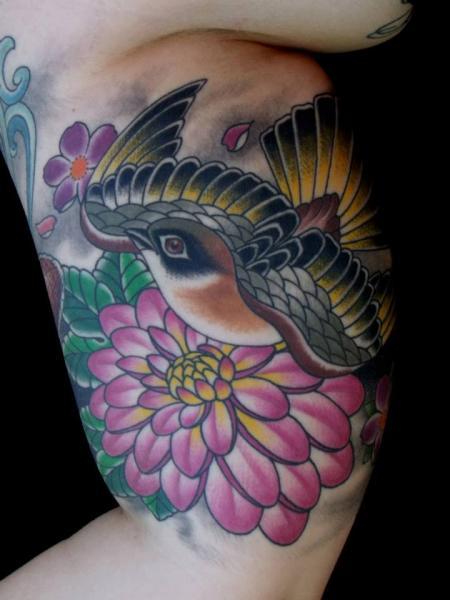 Arm New School Sparrow Tattoo by Chalice Tattoo