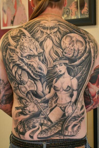 Fantasy Women Back Dragon Tattoo by Chalice Tattoo