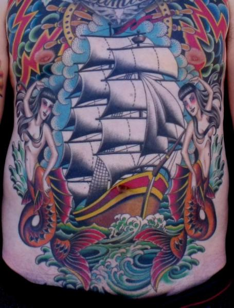 Chest Belly Galleon Tattoo by Chalice Tattoo